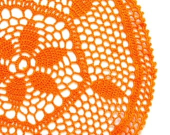 Yellow Orange hand dyed Crochet Doily Vintage doily