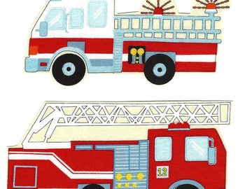 DIY iron on firetrucks - firetruck applique