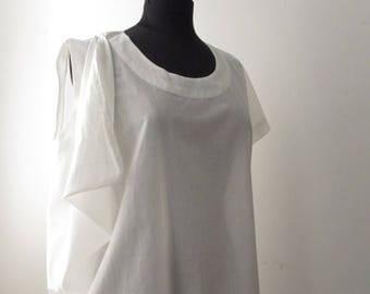Sale SALE White Cotton Asymmetric Drape Top OS