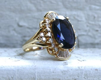Vintage 14K Yellow Gold Iolite and Diamond Ring Engagement Ring - 5.71ct.