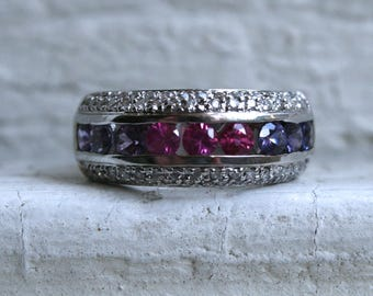 Sparkly Vintage Three Row Diamond and Sapphire 18K White Gold Wedding Band Ring - 2.01ct.