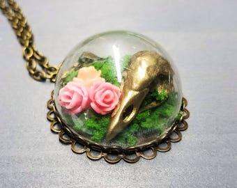 Bird Skull Terrarium Necklace | Gothic Jewelry | Handmade Necklace