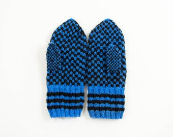 Hand Knitted Mittens - Blue and Black, Size Medium