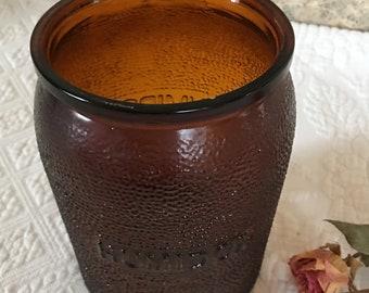 Vintage Humidor. Brown Jar With Humidor on Both Sides. Dun-Rite Wood Nov Inc. BKLYN,NY and Dunaglas 14 2 9 and an I in an Oval on Bottom.