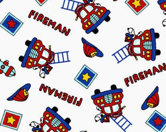 Snuggle Flannel Fabric - Fireman Mix - 1 1/4 Yards