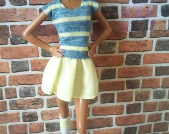 Flirty Mini Skirt and Striped Knit Top for Barbie or similar fashion doll