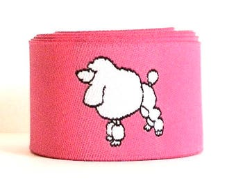 "Woven Ribbon ""French Poodle""  - 1"" x 1 1/2 yds in Pink and White and black - 1 left"