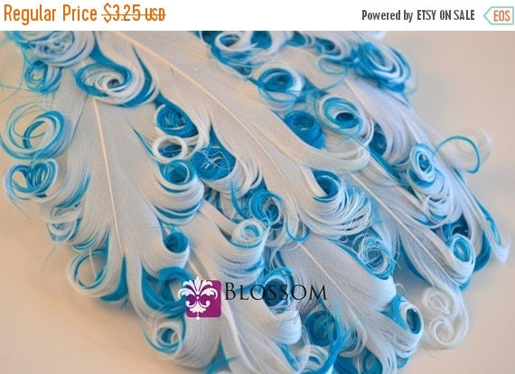 ON SALE 1 Curly Nagorie Feather Pads - Goose Feather Pad - White Turquoise