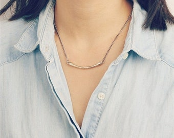 ON SALE Simple everyday brass bar necklace