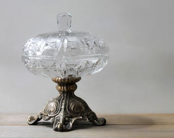 Victorian style glass brass footed dish / ornate French country style home decor / boho gypsy style coffee table decor / glass dish with lid