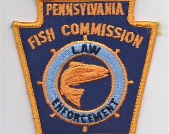 Original Vintage 1970s-80s PENNSYLVANIA FISH COMMISSION Embroidered Uniform Patch Shoulder Law Enforcement Department