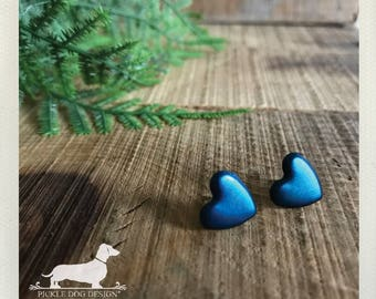 CLEARANCE! Blue Heart. Rustic Heart Post Earrings -- (Love, Small, Simple, Vintage Style, I Love You, Cute, OOAK, Christmas Gift For Her)