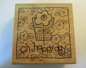 Pot with flowers Rubber Stamp For scrapbooking new never used