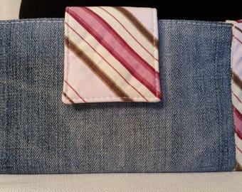 Denim Jean Bi Fold Wallet with Pink & Green Stripe Trim
