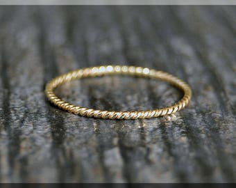 Ultra Thin 14k Gold Stacking Ring, Twisted 14k gold filled ring, Stacking Ring, delicate gold filled ring, Dainty stacking ring, gold ring