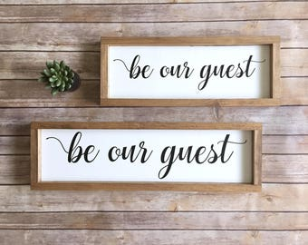 Be Our Guest Sign | Guest Sign | Guest Bedroom Sign  |  Rustic Home Decor | Farmhouse Decor | Wood Sign | Custom Sign