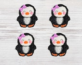 Felties, Penguin, Embroidered Feltie, Feltie, Felt Applique, Penguin Felt Applique, Hair Bow Centers, Penguin Applique, Handmade