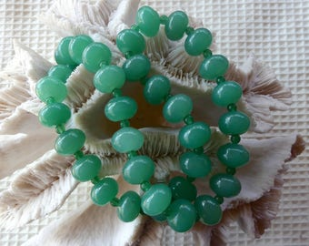 25 Inch Chunky Green Aventurine necklace with Earrings