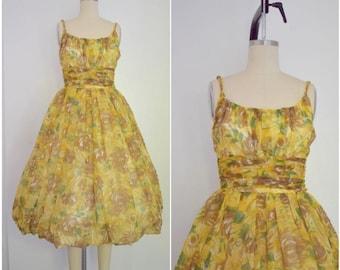 Vintage 1950s Yellow Joan Barrie Chiffon Ballon Cocktail Party Dress