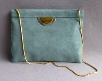 Reva c 1970s Ultra Suede Sea-Foam Green Clutch/Shoulder Bag