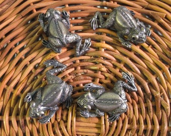 Vintage 90's set of 4 frog  metal drawer pulls