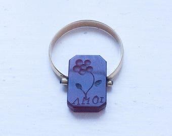 Carnelian Intaglio Ring, 18K Gold, Victorian Seal, Pansy, Reverse Carved, Crest, Vintage Jewelry SUMMER SALE