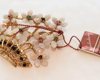 Opal Gemstone Brooch, Swoboda Vintage Jewelry SPRING SALE