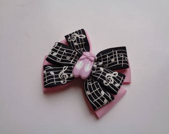 SALE! Black and Light Pink Music Notes Bow, Ballet Birthday Gift, Music Student Birthday Gift, Recital Gift