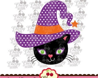 Halloween witch black cat SVG DXF Halloween Silhouette  & Cricut Cut Files DIGIHL18 -Personal and Commercial Use