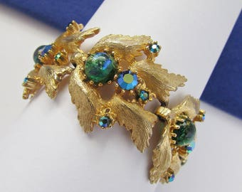 1960's Judy Lee Wide Bracelet Peacock Blue Faux Opal Stones Blue Rhinestones Pretty Feathery Links Small Wrist 6 Inches Like New Condition
