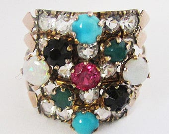 Vintage 14k Gold Harem Five Band Stacking Ring Opals Turquoise Sapphire Chrysoprase 1960's Size 7 1/2 Yellow Gold