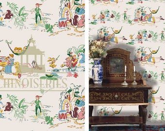 Dollhouse Miniature Wallpaper, Peter Pan, Scale One Inch