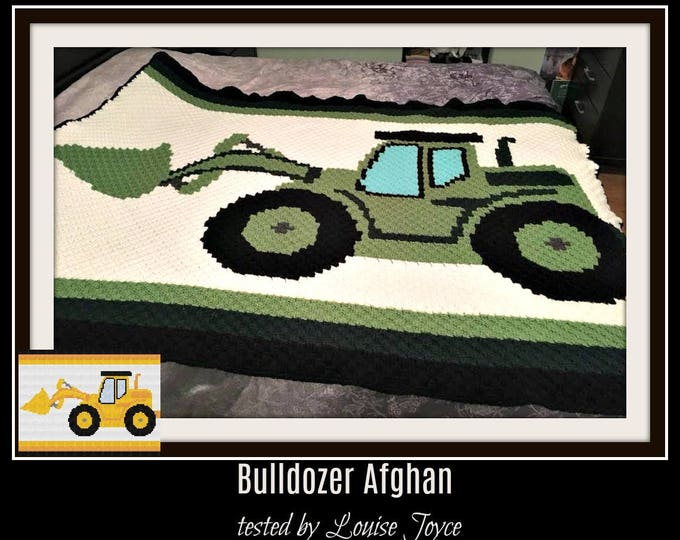 Featured listing image: Bulldozer Afghan, Crochet Pattern, C2C Graph, Written Word Chart