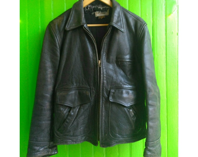 Featured listing image: Vintage D Pocket 1950s Black Leather Motorcycle Jacket American Made