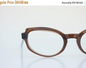 ON SALE Vintage 50's Titmus Brown Sugar Cat Eyeglasses