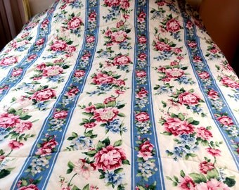 """COMFORTER ..Gorgeous Full sz 80 x 84"""" Blue with Pink & white roses White backing"""