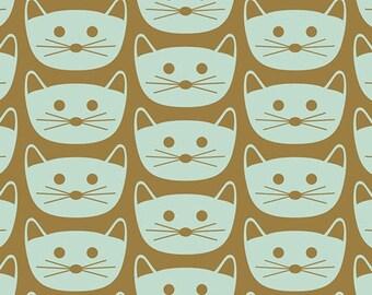 Blush by Dana Willard for Art Gallery Fabrics - Cat Nap - Mint - BSH-88406 - 1/2 Yard Cotton Quilt Fabric