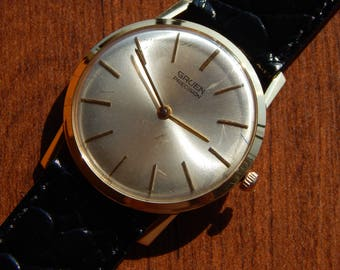Elegant 18K Men's GRUEN Precision Dress Extra-Thin Watch Cal.455R Swiss Made