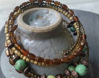 2 Boho Bangle Memory Wire Green, Turquoise, Brown and Gold Bracelets