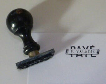 Vintage Ink Stamp French PAYE with name Ebonized Wood