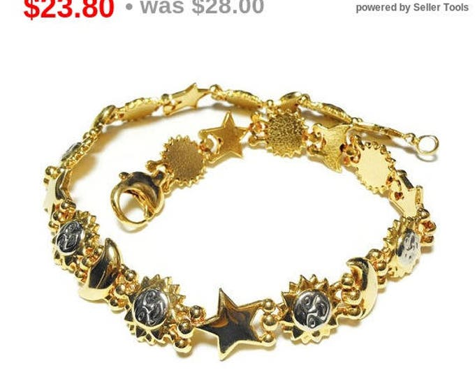 Sun moon stars necklace, gold and silver tone, sun with silver face, star moon links, beautiful celestial link necklace