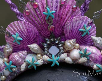Enchanted Mermaid Crown, Mermaid headdress, Siren Costume, Seashell Crown, Mermaid headband, Headdress, Beach wedding, Cosplay, Halloween