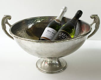 "French Champagne Cooler...Hand Beaten Pewter...Diameter 15.1/2""....weight 5500g (12lbs) maker Jean Goadere fabrication 1938-2009."