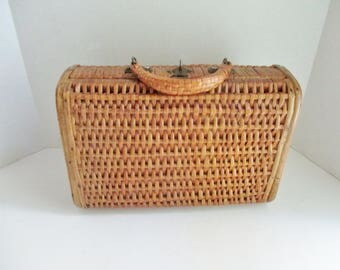 Vintage Wicker Purse Handbag Woven Rattan Natural Hard Box Wood Sides