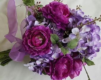 Lush Trendy Hand Tied GARDEN BOUQUET, PURPLE Wine, Magenta,Lavender, Wedding,Bridal Bouquet, Purple Wedding, with Boutonniere, Ready to Ship