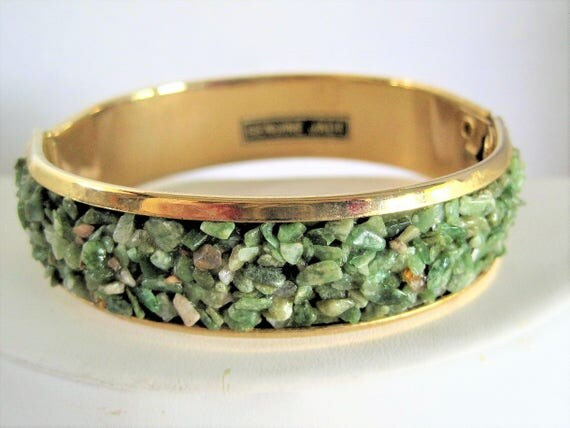 Genuine Jade Hinged Bangle -  Gold Tone Setting - Jade Chips - Green Bracelet