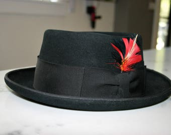 Fedora Churchill Ltd Ganster Pimp Swingster Porkpie Black Fedora