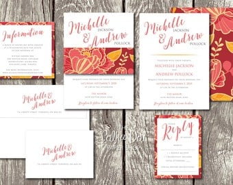 Bright Orange and Red Flower Double Sided Belly Band Wedding Invitation