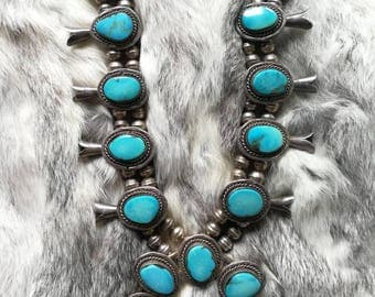 Vintage squash blossom necklace sleeping beauty turquoise