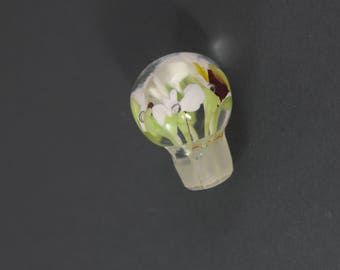 Beautiful Hand Blown Bottle Stopper, Hand Blown Bottle Stopper Flowers